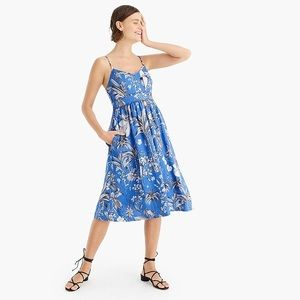 J Crew Ratti Tropical Linen Midi Dress Size 2